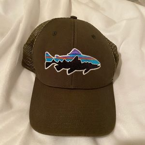 army green patagonia trucker hat